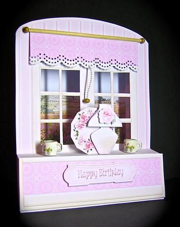 Card Gallery - Pink Roses Arched Windows 3D Card Kit