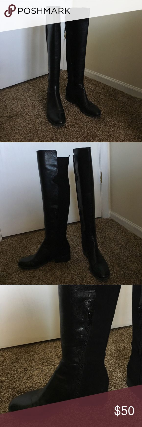 "Like new Nine West black leather knee high boots Like new Nine West black leather knee high boots! Worn maybe 3x. In great condition. Almond toe and 1"" heel. Back of boot has elastase stretch, front is leather. Inside side zipper. Nine West Shoes Heeled Boots"