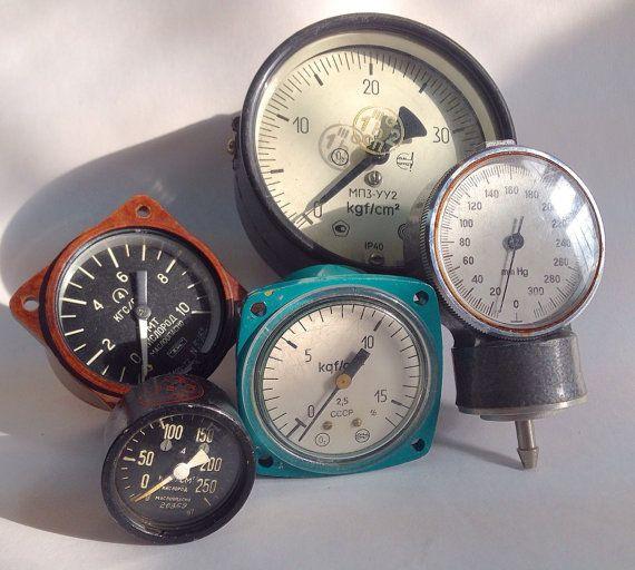 5 Vintage Soviet Pressure Gauges Collectible by SovietHardware