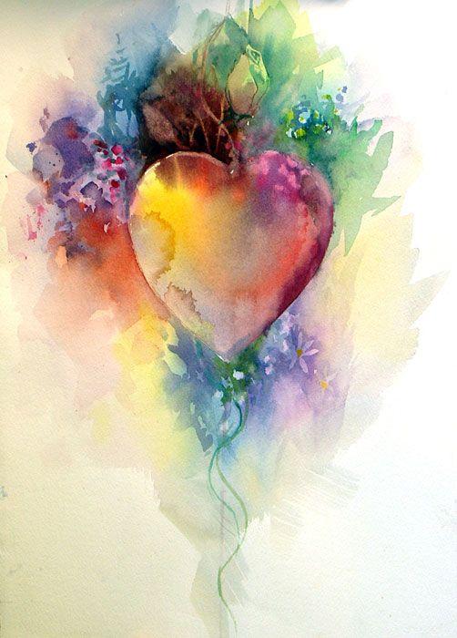 Watercolor Heart REBECCA PEARL beautiful layering<3<3<3BEAUTIFUL<3<3<3