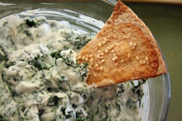 HEALTHY spinach dip! Made with non-fat greek yogurt!