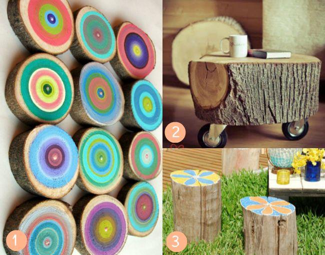 10 ideas para hacer con troncos montessori aire libre - Muebles con troncos ...
