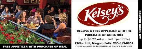 Receive a free appetizer with the purchase of an entree ($$8.99 value). Limit 1 per table. Located at Kelsey's Clifton Hill in Niagara Falls. #food #NiagaraFalls #cliftonhill #coupons #deals #discounts