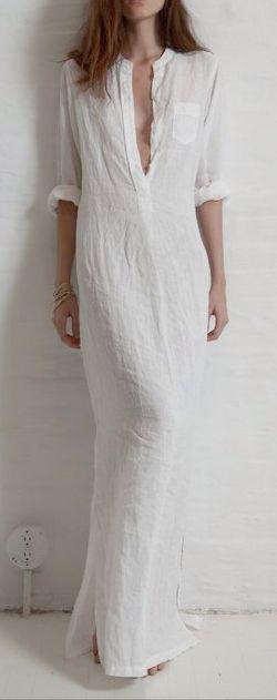 Simple white linen maxi.