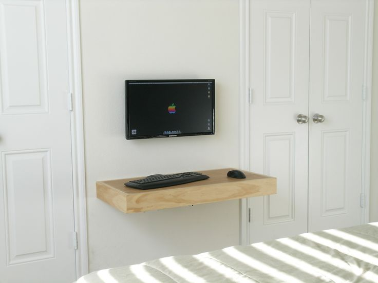 Decoration, Wall Mount Cream Wood Minimalist Computer Desk On White Wall  Color At Terrific Table : Nice Decorating Minimalist Computer Desk