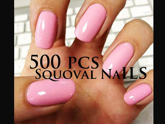 Squoval 500 pcs Professional Salon Nail Tips Natural by emikonails