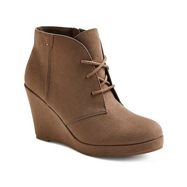 Women's Terri Booties ($28) ❤ liked on Polyvore featuring shoes, boots, ankle booties, brown, brown ankle boots, brown wedge booties, brown wedge boots, short brown boots and lace-up wedge booties