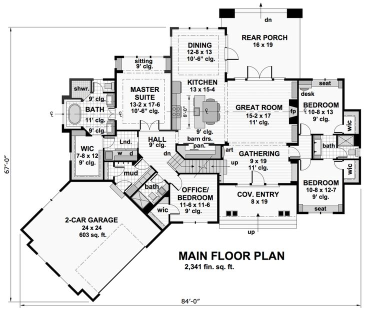 Craftsman Style House Plan - 4 Beds 3 Baths 2341 Sq/Ft Plan #51-573 Floor Plan - Main Floor Plan - Houseplans.com
