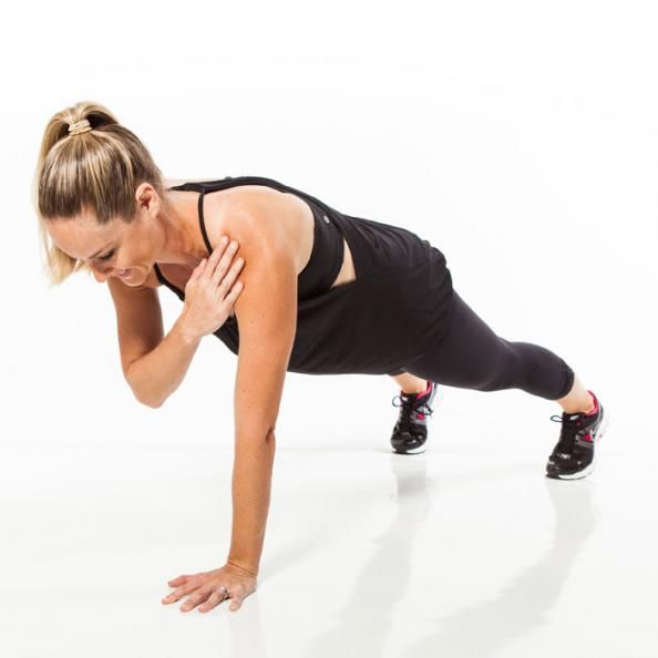 The Strapless Dress Workout: Plank Shoulder Taps. Begin in a full plank position with feet hip-width apart. Lightly tap left shoulder with right hand. Return to start and then immediately lift left hand and tap right shoulder. That's one rep.