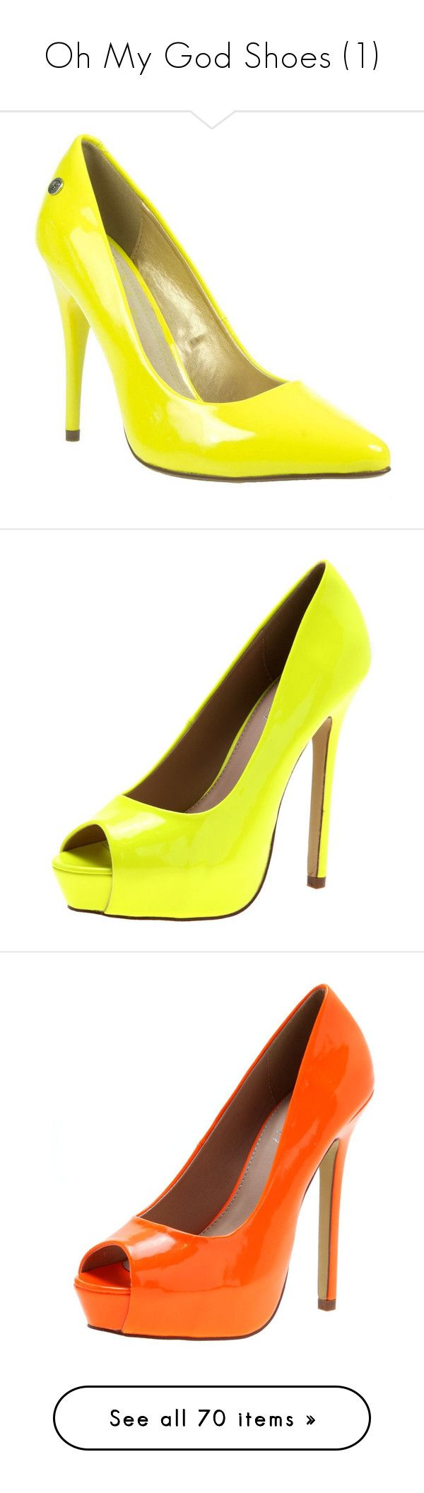 """Oh My God Shoes (1)"" by brittneysaysrawrrr ❤ liked on Polyvore featuring shoes, pumps, women's footwear, high heel shoes, neon pumps, fluorescent yellow pumps, yellow stiletto pumps, yellow pumps, heels and platform shoes"