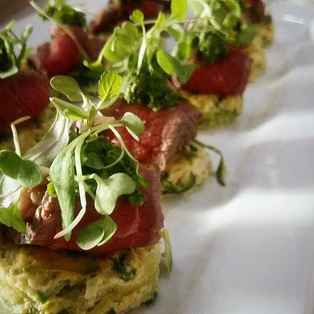 Canapes - Courgette Frittata topped with Beef Fillet Carpaccio, Chimichurri and Micro Leaves