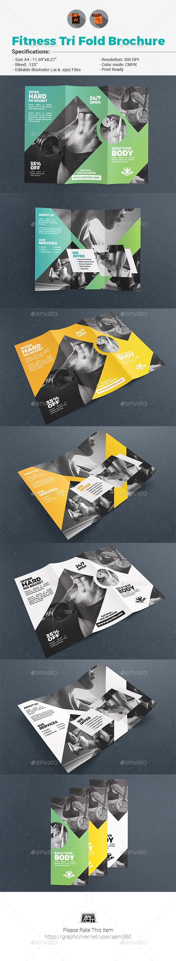 #Fitness Tri Fold #Brochure - Corporate #Flyers Download here: https://graphicriver.net/item/fitness-tri-fold-brochure/19513510?ref=alena994