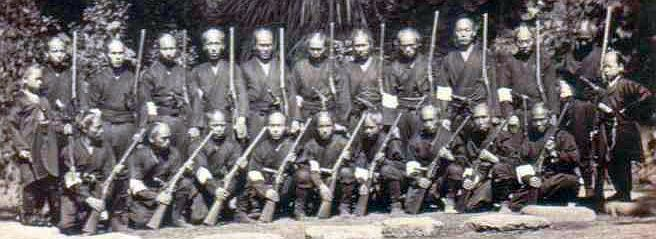 Shojutai (rifle unit) of the the Satsuma clan, Boshin war, late Edo period, they are holding what appears to be Warner carbines, made for James Warner of Springfield, Mass. by the Massachusetts Arms Co, circa 1864.