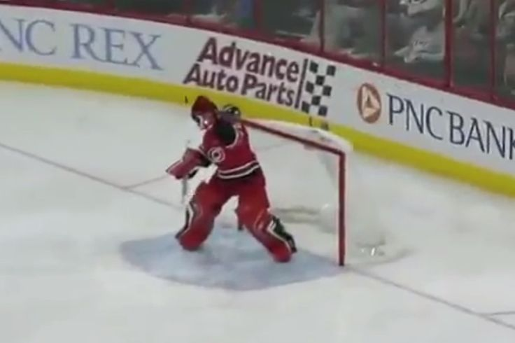 Carolina Hurricanes goaltender fails simple catch from the blue line for a goal