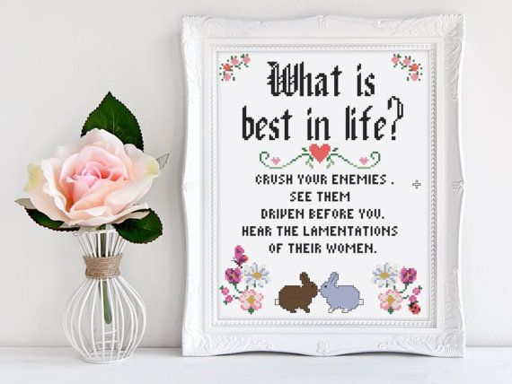 """Conan the barbarians wise words in cross stitch. What is best in life? Remind yourself with this funny cross stitch pattern. ❤️PATTERN INFORMATION❤️  This pattern is designed to fit a 8 x 10 inch frame so you can get it on your wall as soon as possible. Pattern Information: Size: 7.7 x 9.9"""" or 19.6 x 25 cm Stitch Count: 108 x 138 stitches CLOTH: 14 ct. Aida or 28 ct. evenweave, linen or lugana SKILL LEVEL: Beginner  ❤️WHAT YOULL RECEIVE❤️  This pattern is an instant download that will be…"""