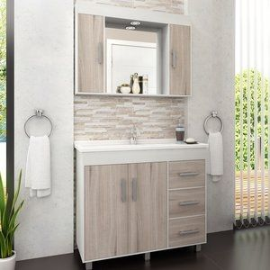 Gabinete para Banheiro com Espelheira Balcony Saara 100 (Não acompanha torneira) Artico/Nogal