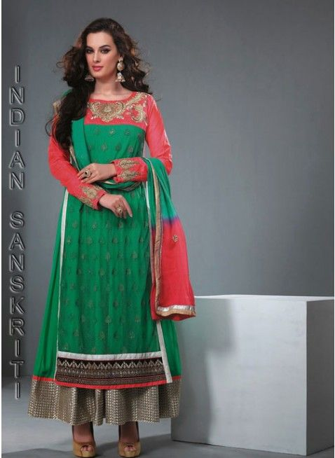 Delightful green & pink georgette based #anarkali with zari, rehsam & lace work