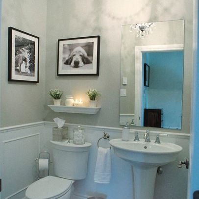 Like the ledge over the toilet maybe have several - Powder room sink ideas ...
