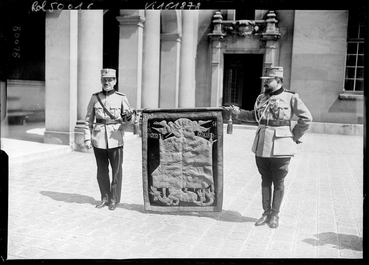 The flag of Stephen the Great (Stefan cel Mare) before the ceremony at the Sorbonne University - July 28, 1917