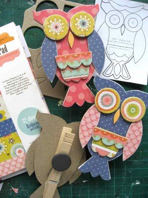 EfemeraInk: Ozzie.....: Owl Crafts, Chipboard Owl, Owl Clothespin, Owl Magnets, Craft Ideas, Owl, Owl Chipboard