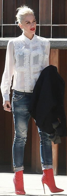 Who made  Gwen Stefani's blue skinny jeans and red studded boots?