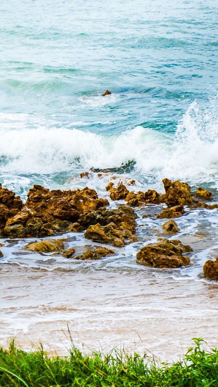 Sea Waves Rocks Nature Coast 720x1280 Wallpaper Sea Waves Nature Coast Wallpaper beach sea waves rocks coast