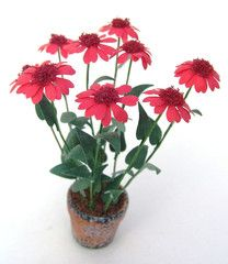 Red Echinacea - Two daisy punches and red flocking