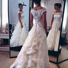 Custom made vintage lace abito da sposa occidentale del paese 2016 una linea zipper abiti da sposa CW344(China (Mainland))