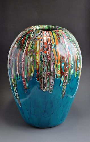 Stunning polymer clay vase by beefball papa.  Wow!