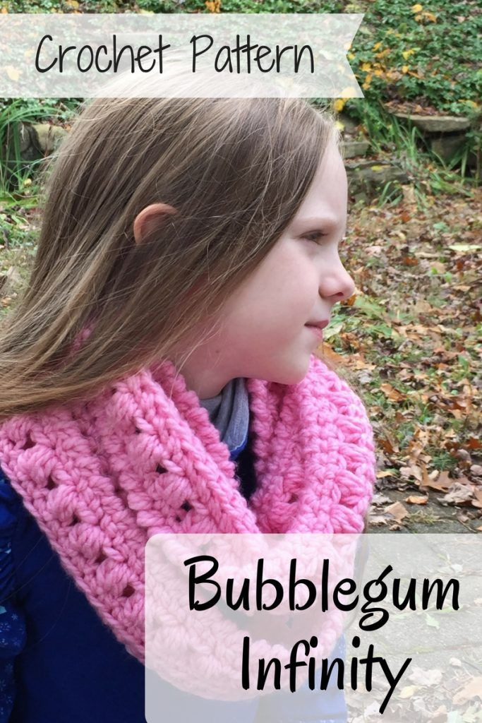 Bubblegum Infinity Scarf Crochet Pattern made in bright colors would be great for kids or neutral colors would be the perfect accessory for any style. Pattern by Ambassador Crochet. #crochetpattern