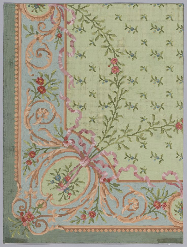 Carpet Design with flower and curl patterns by Koninklijke Verenigde Tapijtfabrieken, 1900 / 1939. Deventer Musea, CC BY-SA