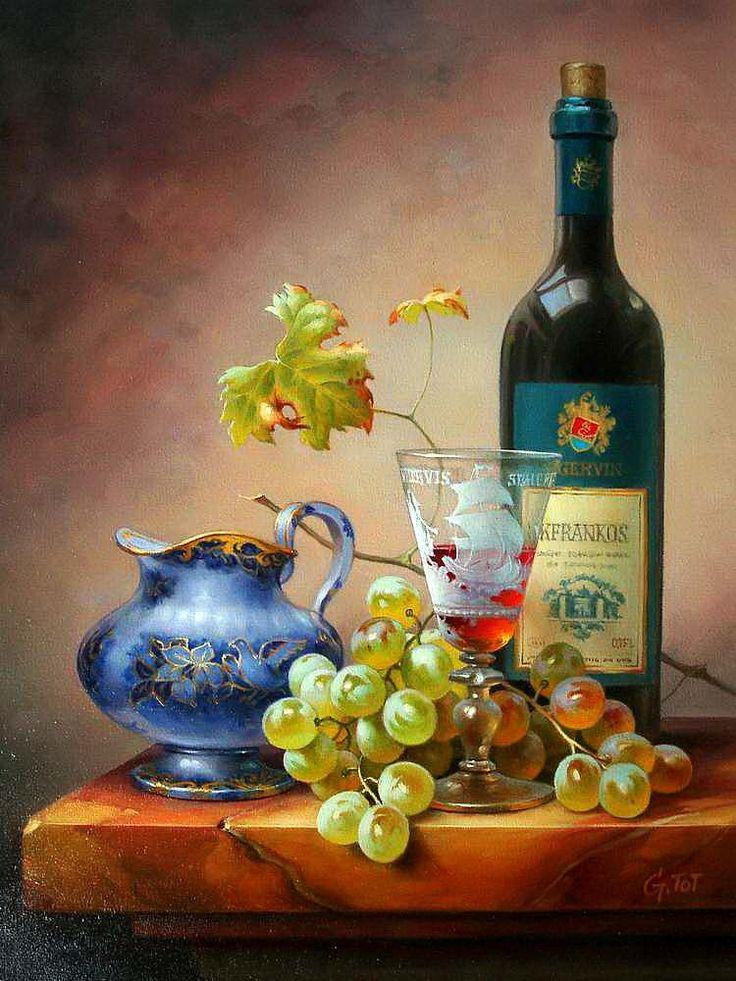 Gabor Toth ~ still life oil ~ white grapes, wine bottle & glass, ceramic pitcher on marble ledge