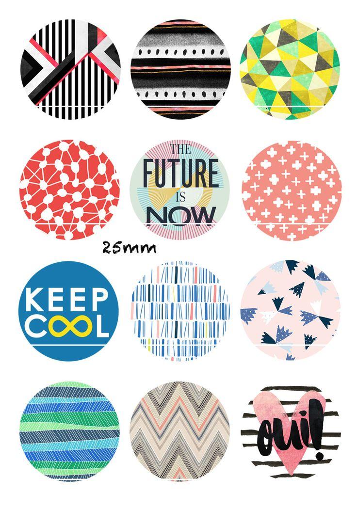 The futur is now 12 Images/Dessins/collages/Scrapbooking digitales pour cabochon 30/25/20/18/16/15/14/12/10/8 mm Rond/Carré/Ovale
