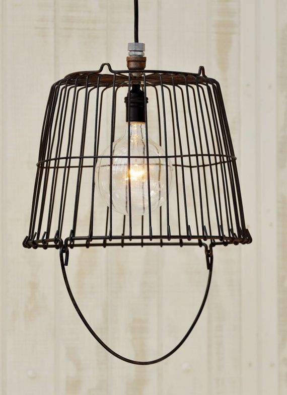 Metal Egg Basket Light  Vintage Egg Basket by TinkerLighting, $135.00