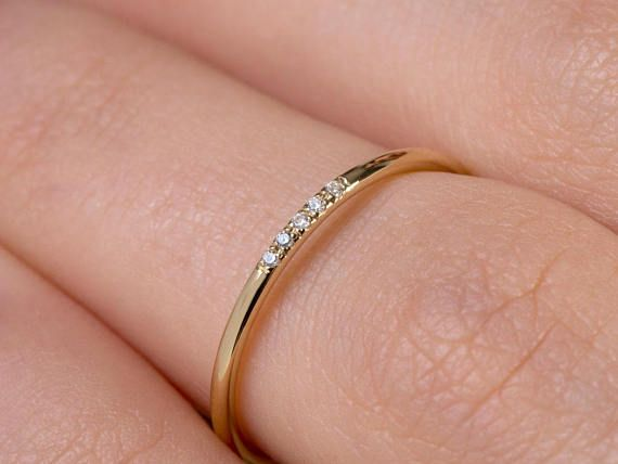 Thin Diamond Ring Band with 5 diamonds Diamond Band Ring