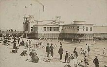 """The hot sea baths and hotel on St Kilda main beach in 1910, which replaced the 1862 """"Gymnasium Baths"""" but burned down and was itself replaced."""