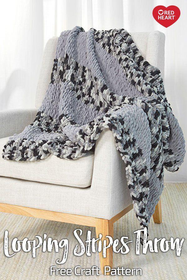 Looping Stripes Throw Free Finger Knitting Pattern In Loop