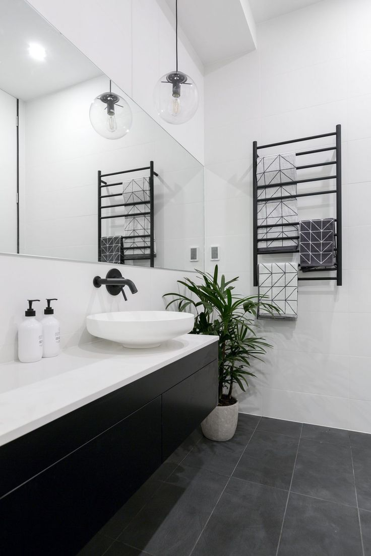 Pics On THE BLOCK u WEEK MAIN BATHROOM REVEALS Bathroom BlackGrey Floor Tiles BathroomWhite