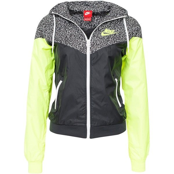 Nike Windrunner Jacket ($96) ❤ liked on Polyvore featuring outerwear, jackets, coats, nike, black, coats & jackets, womens-fashion, black windbreaker, zipper jacket and thin jackets
