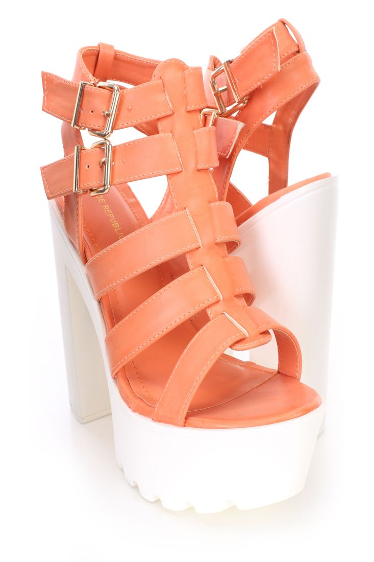 Chunky Faux Leather Platform Heels