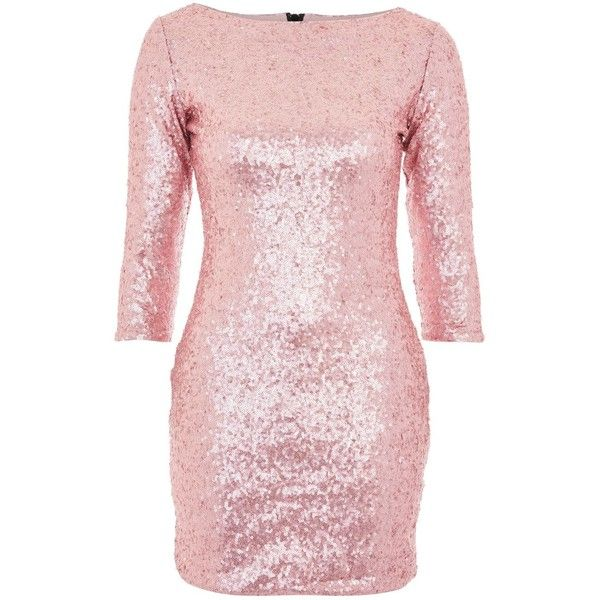 Sequin Bodycon Dress by Glamorous Petite ($64) ❤ liked on Polyvore featuring dresses, pink, pink sequin dress, 3/4 sleeve cocktail dress, cocktail party dress, sequin party dresses and 3/4 sleeve dress