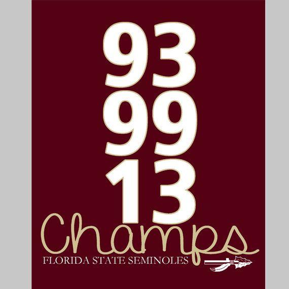 Florida State Seminoles (FSU) National Championship - 93, 99 & 13 - 8x10 Digital Print