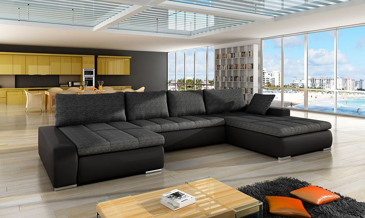 SIMONE - classy and elegant sleeper sofa.  -U-shaped -available in many colors or possibility to personalize your own composition of material -sleeping area 133.5 in x 55 in -storage -made in Europe  DIMENSIONS: Length: 155 in -center: 61 in  Width: -right side: 83 in -left side: 46 in  Hight: 31.5 inch