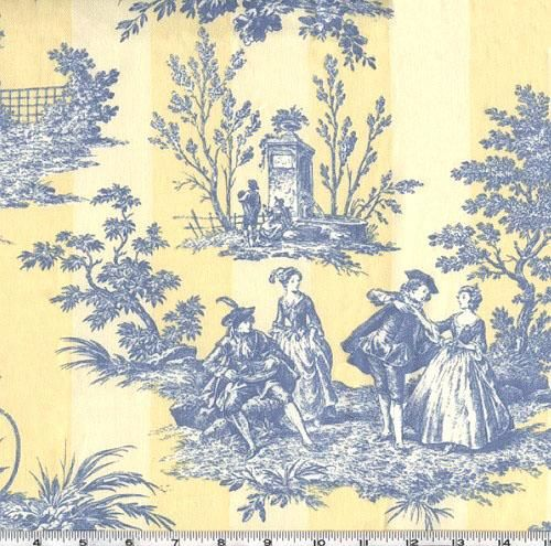 Bathroom Wallcovering French Toile Room Decor Bathroom: Blue And Yellow Toile For My Kitchen ~ Love It
