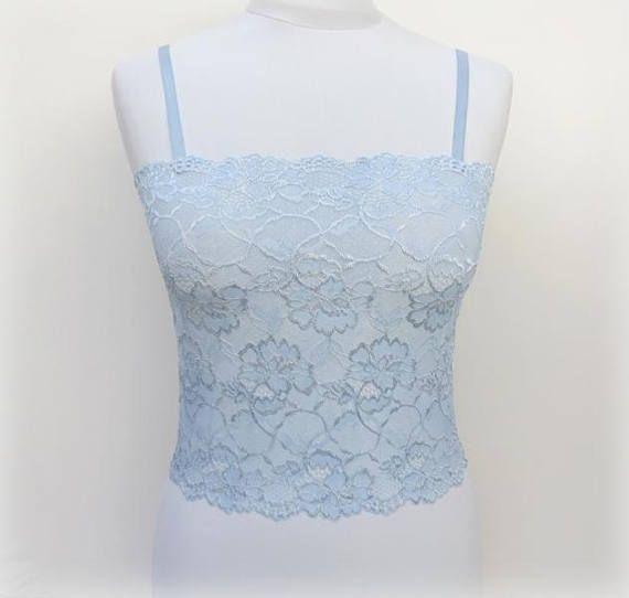 Light Blue Floral Lace Tank Top Light Blue Camisole Blue Lace Top Light Blue Cami Blue Lace Ling Lace Tank Top Elastic Laces Floral Lace Tank Top