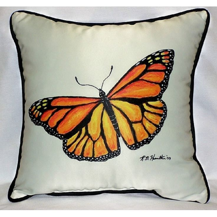 Betsy Drake Spreadwing Monarch Butterfly Art Outdoor Pillow X Throw Pillows Home Kitchen