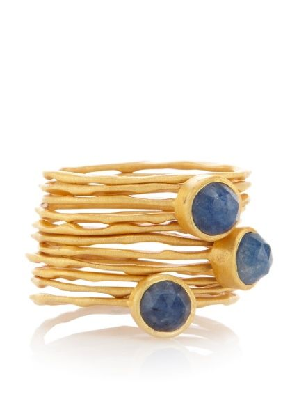 Sapphire hammered stackable rings set