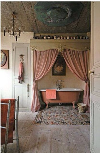 Curtains in front of tub for a private setting http://sandandsisal.com/2013/02/romantic-rooms.html
