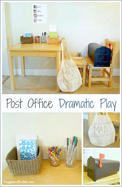 Make this dramatic play post office center to encourage imaginative play and writing! ~ BuggyandBuddy.com