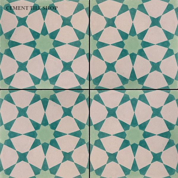 Cement tile shop handmade cement tile agadir vert for Handmade cement tiles